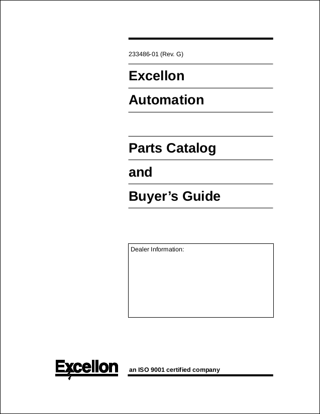 Parts Manual For Drillers & Driller/Routers