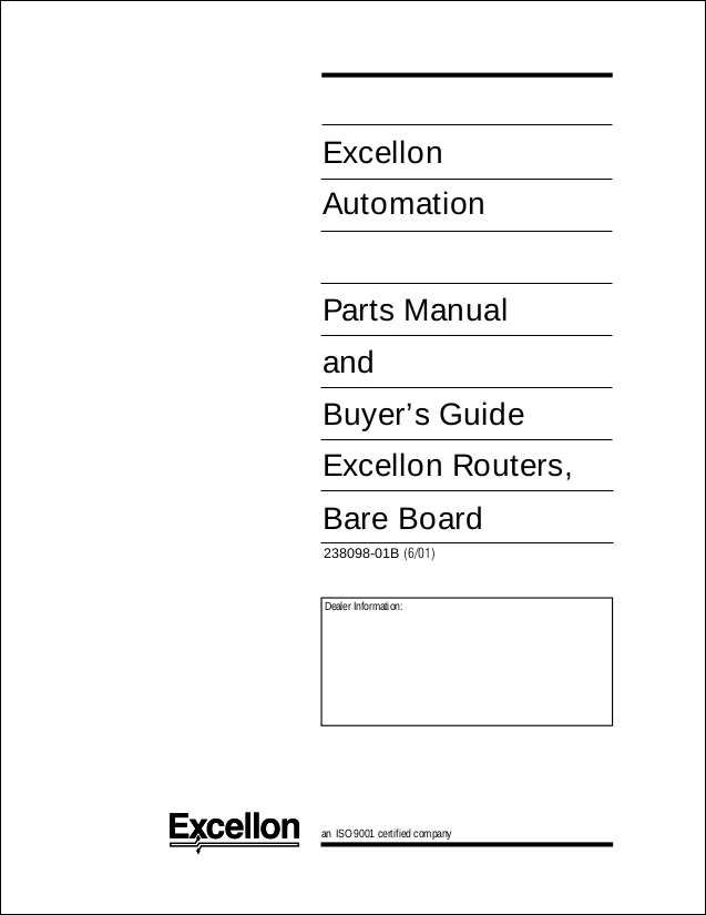 Parts Manual For Dedicated Bare Board Routers